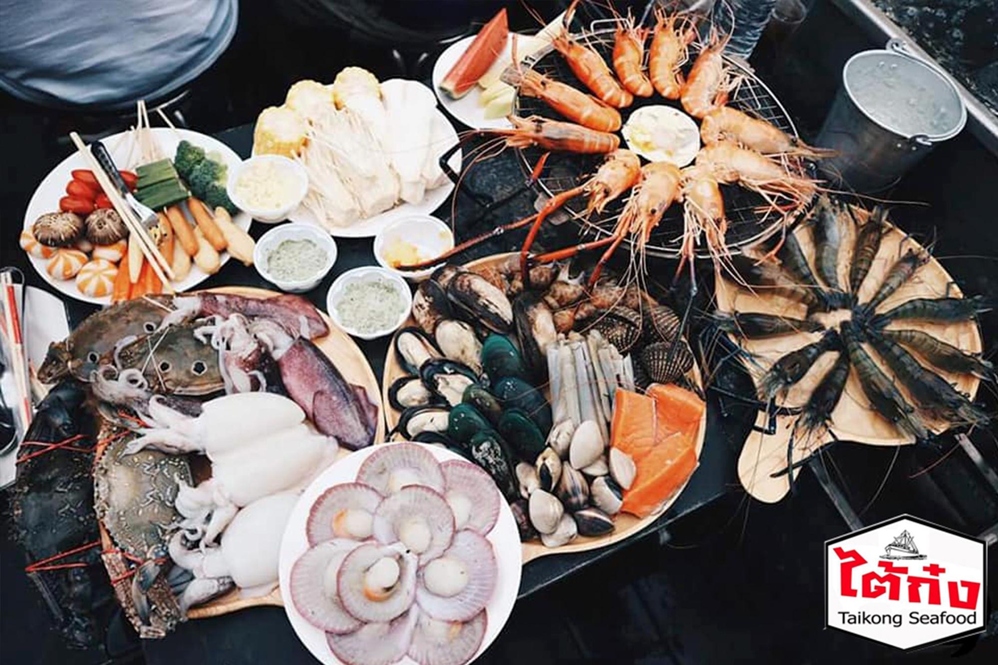 曼谷Taikong流水蝦海鮮餐廳,還可以享用到其他海鮮燒烤無限吃。