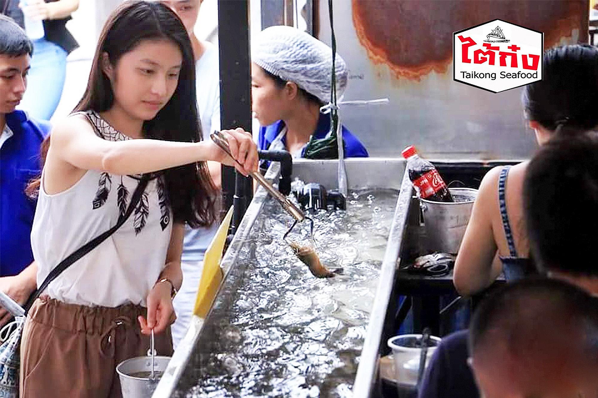 曼谷Taikong流水蝦海鮮餐廳,現撈泰國蝦新鮮美味。