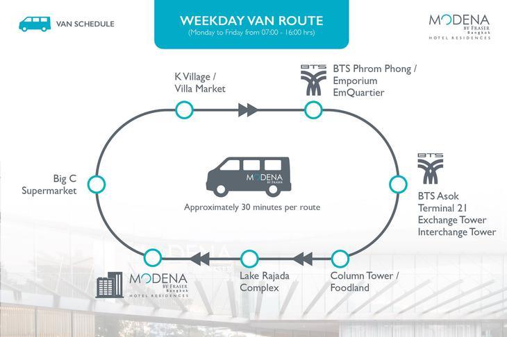曼谷名致服務公寓免費接駁車路線